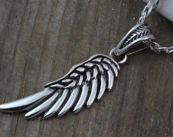 Man Wing Necklace- Sterling silver Angel Wing Pendant, Choose Sterling silver chain or Leather I recommend curb chain, Silver wing Jewelry