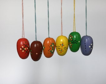 Set of 6. Vintage Hand Painted Easter Egg Ornaments. German. 2017_028