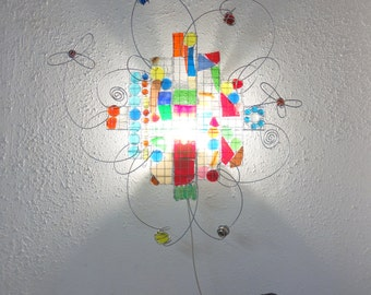 Bright Childrenlamp, Office, Barcelona, One off, Recycle Glass Mosaic, Red, Green, Yellow, Blue