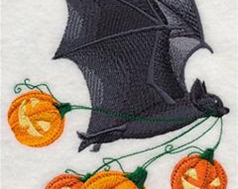 Flying Bat with Pumpkins Embroidered Towel | Flour Sack Towel | | Dish Towel | Kitchen Towel | Hand Towel | Halloween Towel