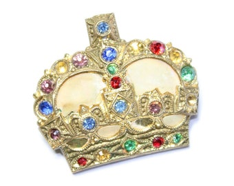 Antique Victorian Gold Coloured, Mother of Pearl & Sparkly Rhinestone Diamante Crown Brooch (c1900s) - stones missing