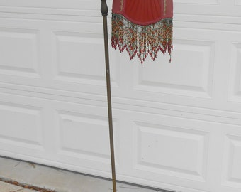 Antique Cast Iron Ornate Floor Lamp Victorian Handmade Reproduction Beaded Fringed Shade Rewired Antique Lighting