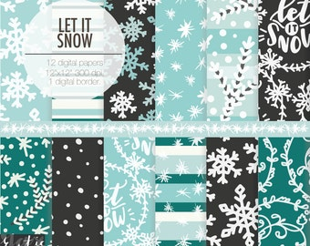 Let it Snow New Year digital paper. Jack Frost snowflakes on night black, sky blue, snow, pine needles to make Holiday Christmas decorations