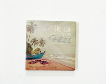 Beach Coasters / Beach Decor / Nautical Coasters / Beach Gift / Surf Gift / wholesale beach / palm tree decor / vintage