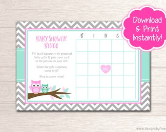 Printable Owl Bingo Game Card - Baby Shower Games - Pink and Mint Owl Shower Package - Instant Download File - BS54