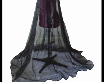 Beautiful Black Shimmer Organza Cloak. Ideal for a Summer Wedding, Handfasting or Medieval Event. Brand New. Made Especially For You.