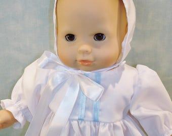 15 Inch Doll Clothes - Baby Boy's White Christening Gown handmade by Jane Ellen