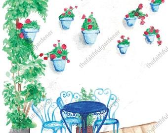 Blue Chair Watercolor Original