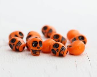Colorful Acrylic Skull Beads - Orange - 12 Beads