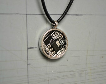 Mens Cool Necklace, Black Silver Mens Geek Jewelry, Modern Techie Mens Circuit Board Necklace