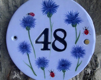 "Bespoke 7"" diameter ceramic house number, made to order."