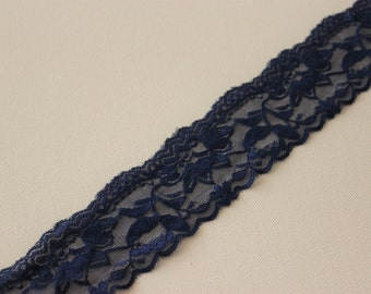 """Elastic Lace, DIY garter, Garter Lace, 2"""" Elastic lace, Blue stretch lace, Something Blue, garter diy, Stretchy lace by the yard"""