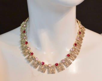 Vintage 1950s Unsigned CORO ? Fringe Tassel Style Red Pink Rhinestone Necklace Choker