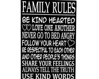 Family sign - Family Rules sign -  Wall hanging - Country home decor - Mothers day sign - Gift sign - Wall art - Wall Decor - Wooden sign