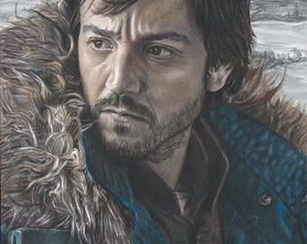 Colored Pencil / Graphite Drawing Print of Diego Luna as Capt. Cassian Andor at Scarif in Star Wars: Rogue One