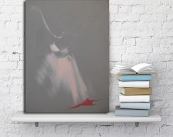 Grey Giclee Print, Contemporary Fine Art Print, Wall Art Canvas Print, Ballerina Poster