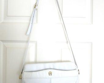 On Sale Etienne Aigner White Leather Shoulder Bag Cross Body Designer Logo Lizard Trim 1980s