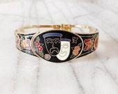 Vintage Comedy and Tragedy Theater Mask Enamel Hinge Bracelet
