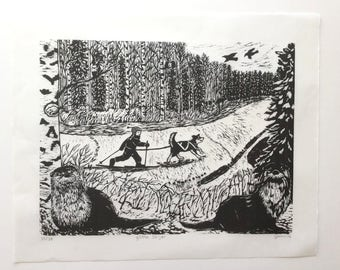 gOtta Skijor: Original Woodcut