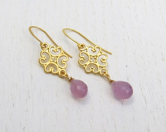 Summer SALE - Lavender chalcedony earrings, Gold filigree earrings, Purple drop earrings