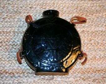 Frankoma Pottery Thunderbird Canteen in Onyx Black Glaze.