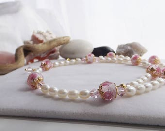 Traditional Pearls, Pink Crystals, Lampwork Beads with Roses, Adjustable Beaded Necklace for Spring, Summer, Weddings, Mother, Gift for Her
