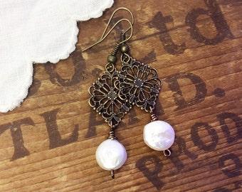 Filigree pearl earrings bronze earrings scroll earrings Victorian earrings