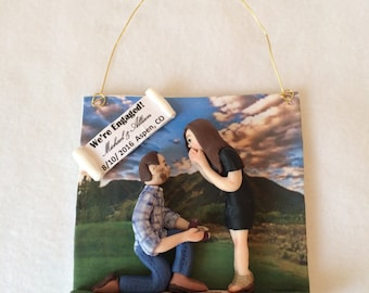 Polymer Clay Engagement Ornament, Christmas Ornament, Couple Ornament