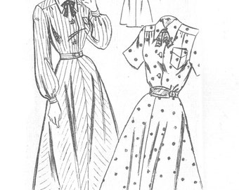 Vintage Sewing Pattern Mail Order 2503 Misses' 1940s Shirtdress