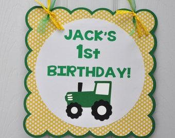 Tractor Party Door Sign, Tractor Birthday Party