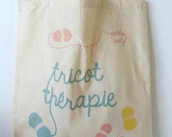 """Tote bag """"Knitting therapy"""" - gift knitting gift DIY mother's day gift mother"""