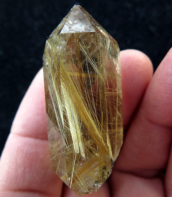 Natural Water Clear Golden Rutile Included Quartz Point. So Beautiful! 28.1 Grams. Brazil