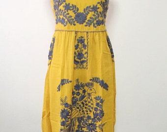 Embroidered Mexican Sundress Cotton Strapless Dress, Beach Dress, Boho Dress