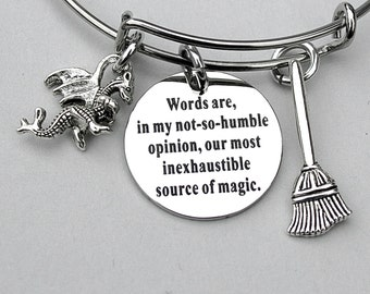 Words are, In My Not-So-Humble Opinion, Our Most Inexhaustible Source Of Magic Stainless Steel Scripted Charm and Bangle, Harry Potter