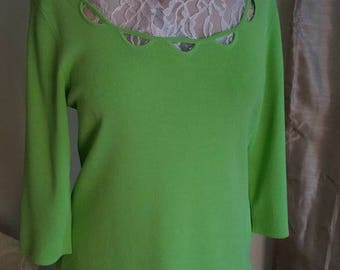 Cable & Gauge Top Blouse Women Size L Chartreuse