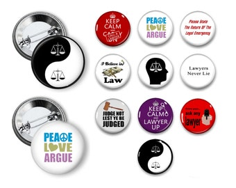 Lawyer Pins Lawyer Buttons lawyer Theme Party Favors set of 10 1.25 inch Pin back buttons pins badges magnets