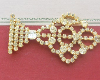 Hobe Brooch - Statement, Rhinestones & Gold, Signed - Vintage - Stunning!