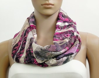 Pink Scarf Infinity Scarf Fashion Scarves Scarf Shawl Cowl Scarf Tube Scarf Summer Scarf Gift for her Handmade Multicolor Scarf Psychedelic