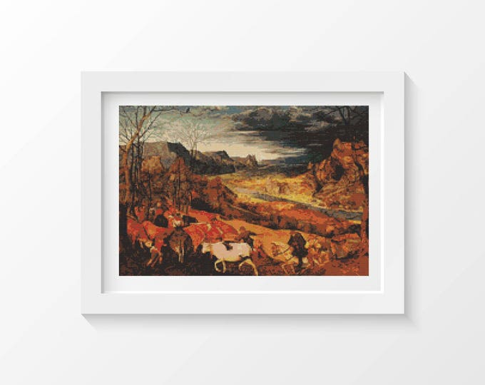 Cross Stitch Pattern PDF, Embroidery Chart, Scenery Cross Stitch, The Return of the Herd by Pieter Bruegel (BRUEG01)