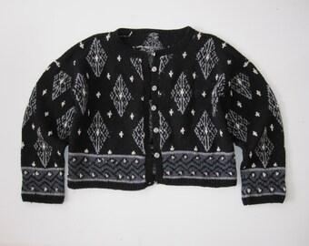 Handmade Woven Vintage Diamond Black White and Grey HandKnit Button Down Sweater