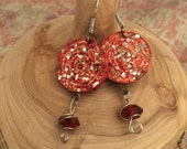 Sparkle earrings - Upcycled jewelry - Wine cork earrings - Lightweight earrings - Gift for wine lover - Wine cork jewelry - Gift for her