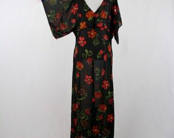 1990s Sheer Black Red Beaded Flowers Maxi Dress