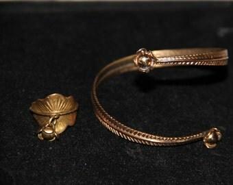 Seppo Tamminen vintage ring and bracelet bronze / brass