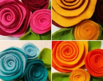 Rolled Felt Flowers & Leaves Set - Multiple Colour Options
