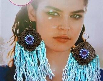 HAND DYED fringe earrings, B pair, beaded lilac crochet mirror earrings, dangle filigree brass earrings,