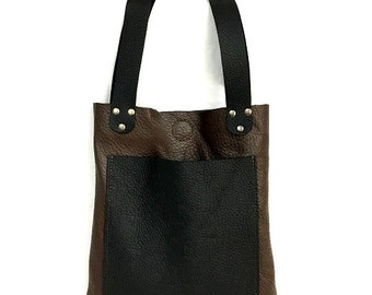 One of a kind Handcrafted Brown & Black Women Small Leather Tote Bag/Sack, Shoulder Bag, Evening Bag, For Daily Use, Lightweight, For Her.