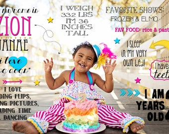 2nd Birthday Photo Stats, Facts, & Details about Child on Background Boy or Girl Digital File to Print