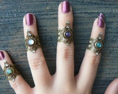 knuckle ring midi ring steampuk ring armor ring ONE claw ring gothic rings victorian rings moon goddess ring boho rings festival jewelry