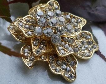 Large Gold Rhinestone Embellishment Flower Brooch Flat Back Pin Clear Crystal Broach Wedding Gold Tone Brooch Bouquet Sash DIY Gold Pin GC3
