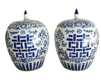 Vintage Ginger Jar Happiness Jar PAIR Blue and White Chinoiserie Ginger Jar Melon Jars Double Happiness Cobalt Hollywood Regency Console Set
